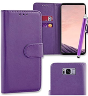 Purple Flip Wallet Case Cover Pouch for Samsung Galaxy s8